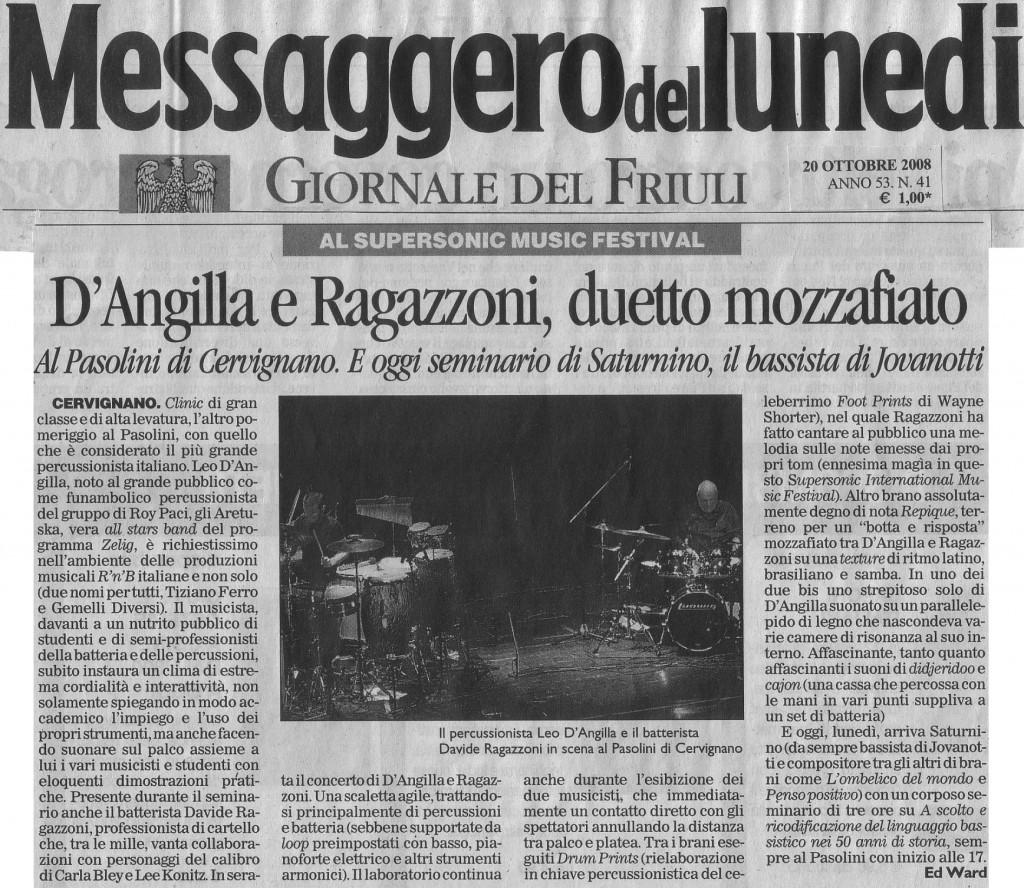 Articolo Messaggero 20 Ottobre